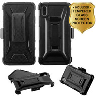 Tough Armor Hybrid Kickstand Case with Holster and Tempered Glass Screen Protector for iPhone XS / X - Black