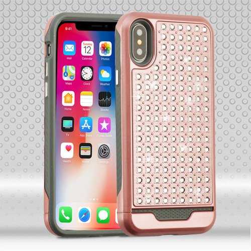 Luxury Bling Diamond Hybrid Case for iPhone XS / X - Rose Gold - HD Accessory
