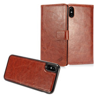 *SALE* 2-IN-1 Premium Leather Wallet with Detachable Magnetic Case for iPhone XS / X - Brown