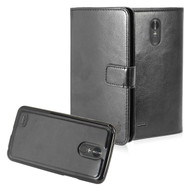 2-IN-1 Premium Leather Wallet with Detachable Magnetic Case for LG Stylo 3 / Stylo 3 Plus - Black