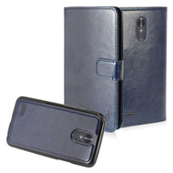 2-IN-1 Premium Leather Wallet with Detachable Magnetic Case for LG Stylo 3 / Stylo 3 Plus - Navy Blue