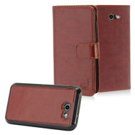 2-IN-1 Leather Wallet with Detachable Magnetic Case for Samsung Galaxy J3 (2017) / J3 Emerge / J3 Prime - Brown