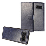 *SALE* 2-IN-1 Premium Leather Wallet with Detachable Magnetic Case for Samsung Galaxy Note 8 - Navy Blue