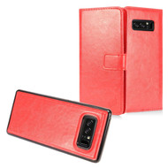 *SALE* 2-IN-1 Premium Leather Wallet with Detachable Magnetic Case for Samsung Galaxy Note 8 - Red