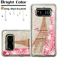 *SALE* Quicksand Glitter Transparent Case for Samsung Galaxy S8 Active - Eiffel Tower