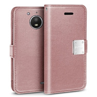 Essential Leather Wallet Case for Motorola Moto E4 - Rose Gold