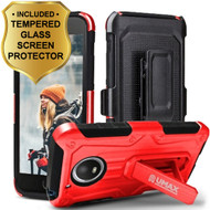 *SALE* Heavy Duty Dual Layer Hybrid Armor Case + Holster + Tempered Glass Screen Protector for Motorola Moto E4 - Red