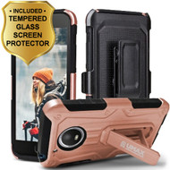 *SALE* Heavy Duty Hybrid Armor Case + Holster + Tempered Glass Screen Protector for Motorola Moto E4 - Rose Gold
