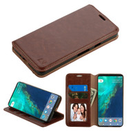 *SALE* Book-Style Leather Folio Case for Google Pixel 2 - Brown