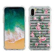 Klarity Premium Transparent Anti-Shock TPU Case for iPhone X - Pink Fresh Roses
