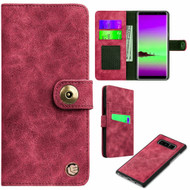 *SALE* Faux Suede Leather Wallet with Detachable Magnetic Case for Samsung Galaxy Note 8 - Red