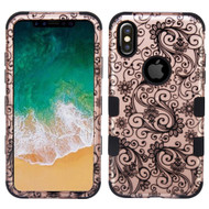 Military Grade Certified TUFF Image Hybrid Armor Case for iPhone XS / X - Four Leaf Clover Rose Gold