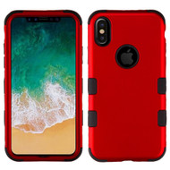 Military Grade Certified TUFF Hybrid Armor Case for iPhone XS / X - Titanium Red