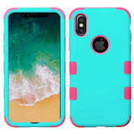Military Grade Certified TUFF Hybrid Armor Case for iPhone XS / X - Teal Green Electric Pink