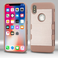 Military Grade Certified TUFF Trooper Dual Layer Hybrid Armor Case for iPhone XS / X - Rose Gold 637