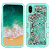 TUFF Quicksand Glitter Hybrid Armor Case for iPhone XS / X - Teal Green