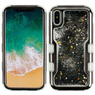 TUFF Quicksand Glitter Hybrid Armor Case for iPhone XS / X - Electroplating Gun Metal