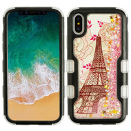 TUFF Quicksand Glitter Hybrid Armor Case for iPhone X - Eiffel Tower