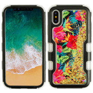 TUFF Quicksand Glitter Hybrid Armor Case for iPhone X - Electric Hibiscus