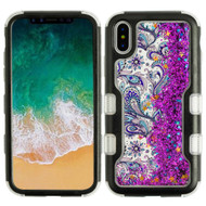 TUFF Quicksand Glitter Hybrid Armor Case for iPhone X - Persian Paisley