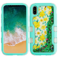 TUFF Quicksand Glitter Hybrid Armor Case for iPhone X - Spring Daffodils