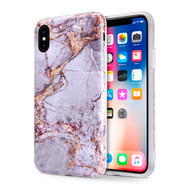 *Sale* Marble IMD Soft TPU Case for iPhone XS / X - Grey Gold