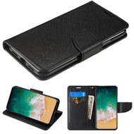 Diary Leather Wallet Case for iPhone X - Black