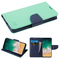 Diary Leather Wallet Case for iPhone X - Teal Green