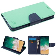 Diary Leather Wallet Case for iPhone XS / X - Teal Green