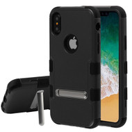 Military Grade Certified TUFF Hybrid Armor Case with Stand for iPhone XS / X - Black