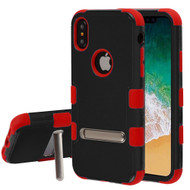 Military Grade Certified TUFF Hybrid Armor Case with Stand for iPhone XS / X - Black Red