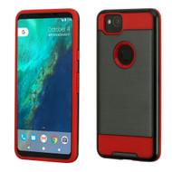 Brushed Hybrid Armor Case for Google Pixel 2 - Black Red