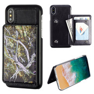 Pocket Wallet Case with Card Stand for iPhone XS / X - Tree Camouflage