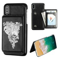 Pocket Wallet Case with Card Stand for iPhone XS / X - Skull Wing