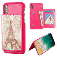 Pocket Wallet Case with Card Stand for iPhone XS / X - Eiffel Tower