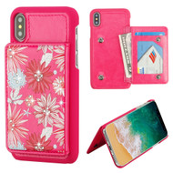 Pocket Wallet Case with Card Stand for iPhone X - Spring Daisies