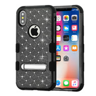 Military Grade Certified TUFF Diamond Hybrid Armor Case with Stand for iPhone X - Black