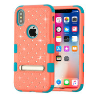 Military Grade Certified TUFF Diamond Hybrid Armor Case with Stand for iPhone X - Pink Tropical Teal