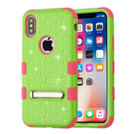 Military Grade Certified TUFF Diamond Hybrid Armor Case with Stand for iPhone X - Pearl Green Electric Pink