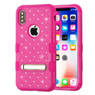 Military Grade Certified TUFF Diamond Hybrid Armor Case with Stand for iPhone XS / X - Hot Pink 254