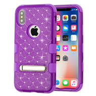 Military Grade Certified TUFF Diamond Hybrid Armor Case with Stand for iPhone X - Purple 262