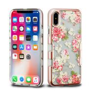 TUFF Panoview Diamante Transparent Hybrid Case for iPhone X - European Rose