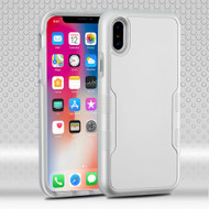 Military Grade Certified TUFF Contempo Hybrid Armor Case for iPhone XS / X - Space Silver