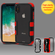 TUFF Vivid Transparent Hybrid Armor Case for iPhone XS / X - Black Red