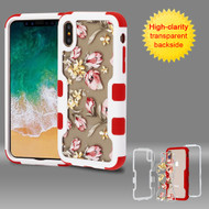 TUFF Vivid Transparent Hybrid Armor Case for iPhone X - Painted Flowers