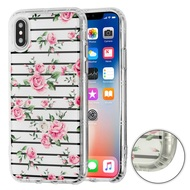 Air Cushion Shockproof Crystal TPU Case for iPhone XS / X - Pink Fresh Roses