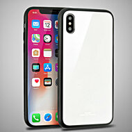 Minimalistic TPU Case with Tempered Glass Backing for iPhone XS / X - White