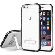 Bumper Shield Clear Transparent TPU Case with Magnetic Kickstand for iPhone 6 Plus / 6S Plus - Black