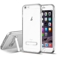 Bumper Shield Clear Transparent TPU Case with Magnetic Kickstand for iPhone 6 Plus / 6S Plus - Silver