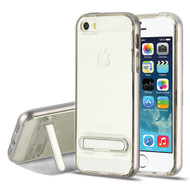 Bumper Shield Clear Transparent TPU Case with Magnetic Kickstand for iPhone SE / 5S / 5 - Silver